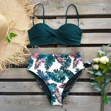 Bikini con estampado de hojas para mujer, bañador Sexy para mujer, conjunto de Bikinis con aumento de cintura alta, trajes de baño 2021