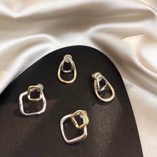 Модные Простые геометрические серьги гвоздики дикие металлические