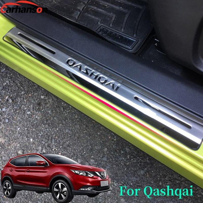Auto adhesivo estilo para Nissan Qashqai J11 accesorios del coche 2015, 2017, 2019, el umbral de la puerta de la cubierta de acero inoxidable placa de desgaste travesaño de guardia
