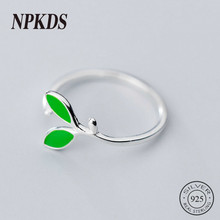 Sterling 925 Silver Green Leaf Women Rings New Fresh Mori Style Thin Rings for Girls Silver 925 Cute Trendy Finger Jewelry Chic(China)