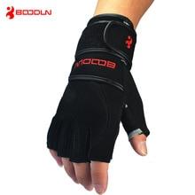 Guantes de cuero genuino para Crossfit de medio dedo para hombre, antideslizantes, para gimnasio, Fitness, guantes para Mancuernas, levantamiento de pesas para fisicoculturista