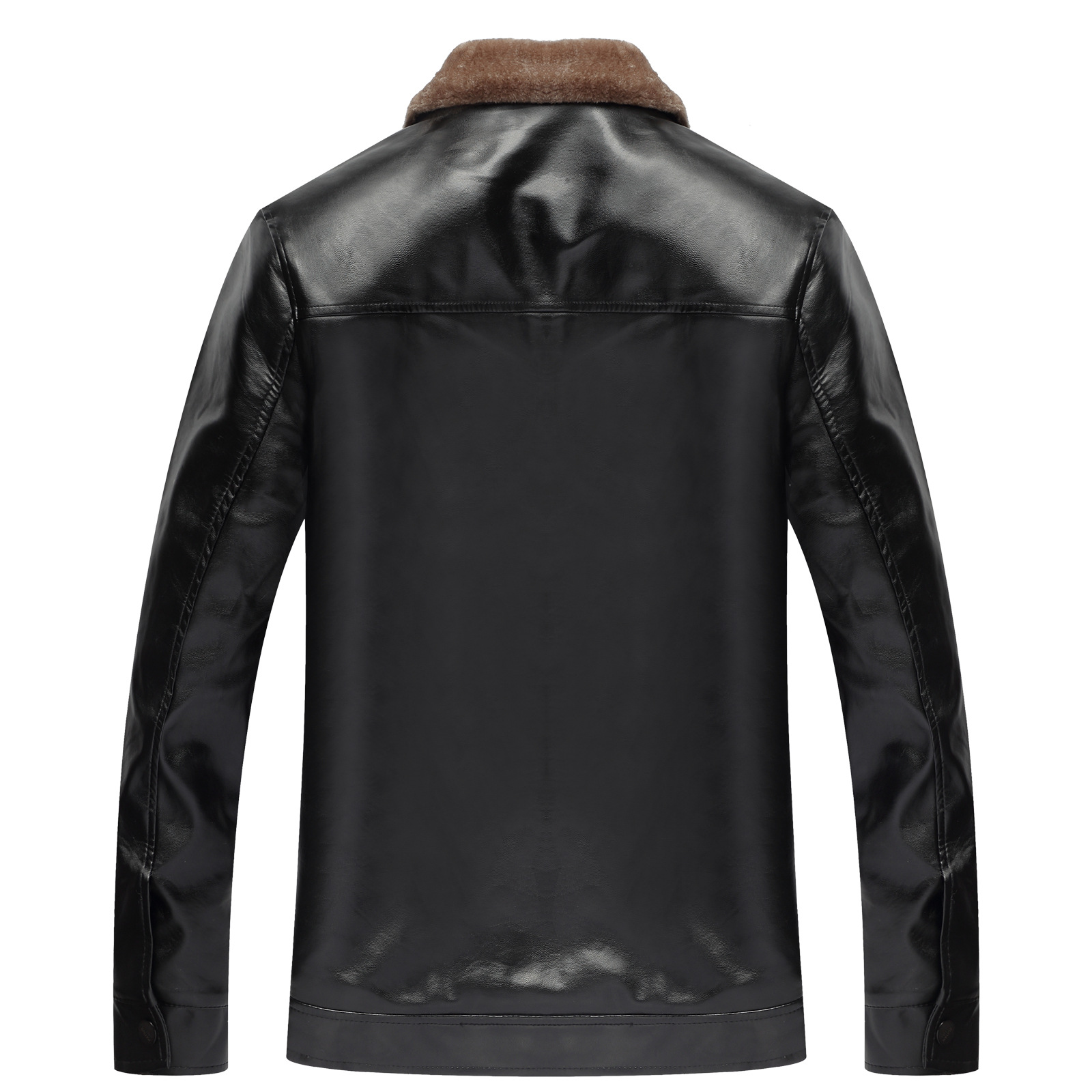 Hot Sales Customizable Business Men Plus Velvet Leather Coat Middle-aged Fold-down Collar Thick Warm PU Leather Jacket