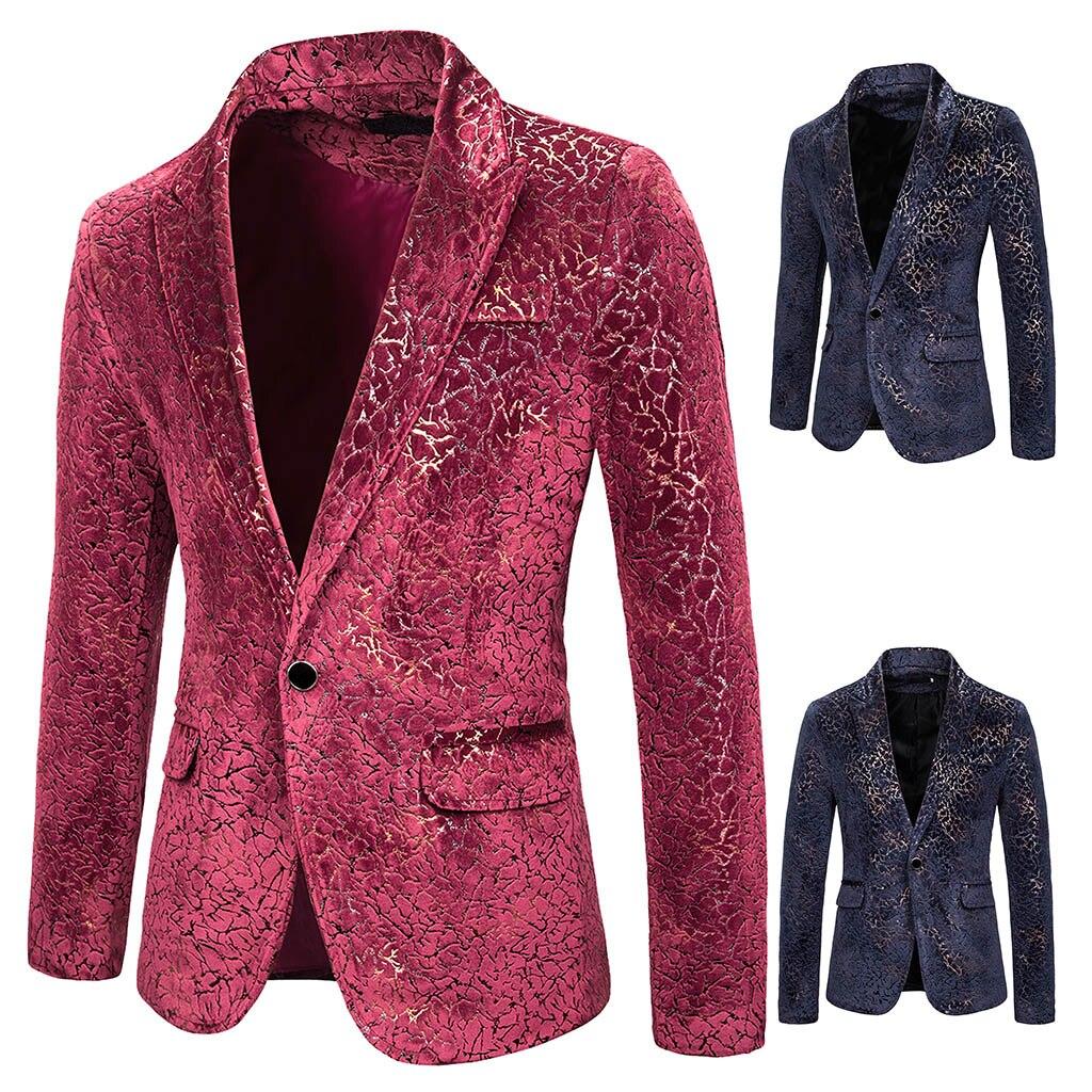 Men Luxury Blazer Jacket 2019 Brand Single Button Vintage Suit Jacket Men Fashion Suit Coat For Wedding Party Stage Costume