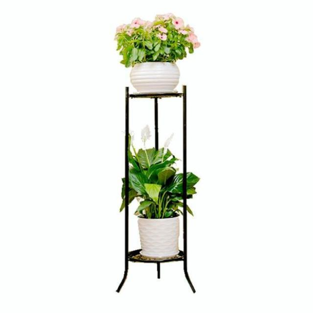 2 Pieces Flower Shelf Wrought Iron Multi-layer Indoor Living Room Green Flower Pot Bracket Home Floor Hanging Orchid European