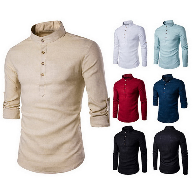 2020 Men Casual Shirt Long Sleeve Mandarin Collar Cotton Shirts Solid Color Traditional Chinese Style Basic Shirts Plus Size XXL