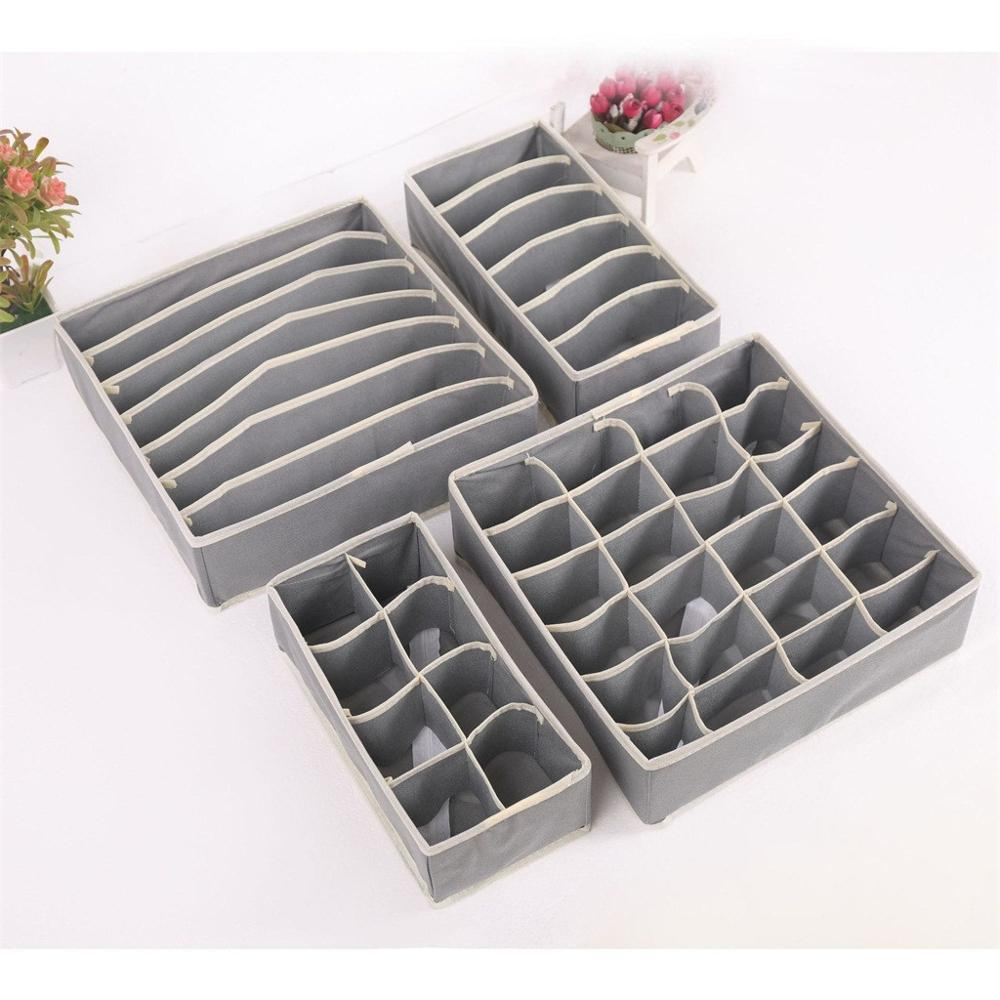 Underwear Organizer Drawer-Divider-Case Storage-Box Wardrobe Foldable 4pcs/Set CD title=