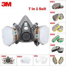 7in1 3M 6200 نصف الغاز قناع الوجه + 6001/6002/6003/6004/6005/6006 مرشح قابلة لإعادة الاستخدام تنفس العضوية قناع حمض العضوية بخار و حمض الغاز