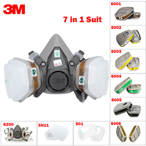 Image 1 - 7in1 3M 6200 חצי גז מסיכת הפנים + 6001/6002/6003/6004/6005/6006 מסנן מונשם לשימוש חוזר אורגני מסכת חומצה אורגני אדי & חומצה גז