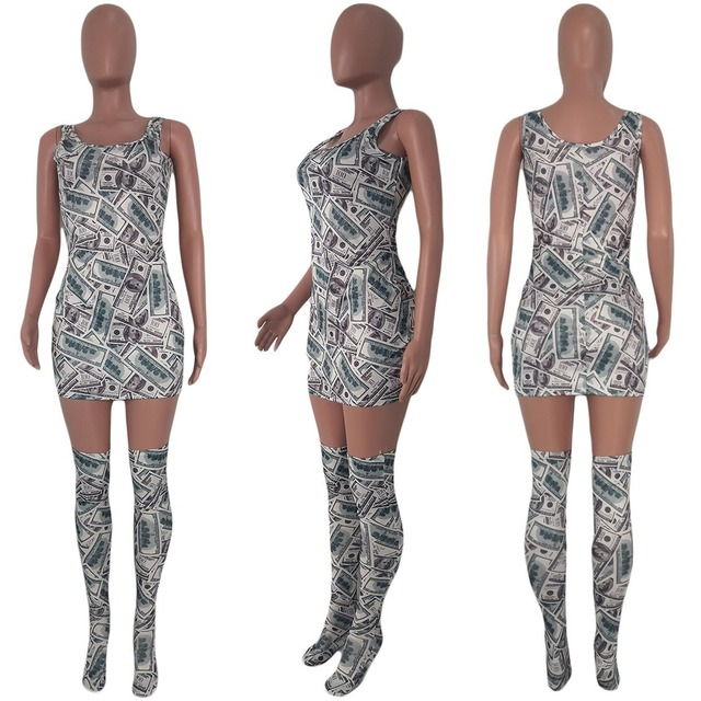 Sexy Fashion Women Mini Dress Included Knee Socks Digital Floral Printed American Flag Dollar Summer Outfits Club Party Sundress 6