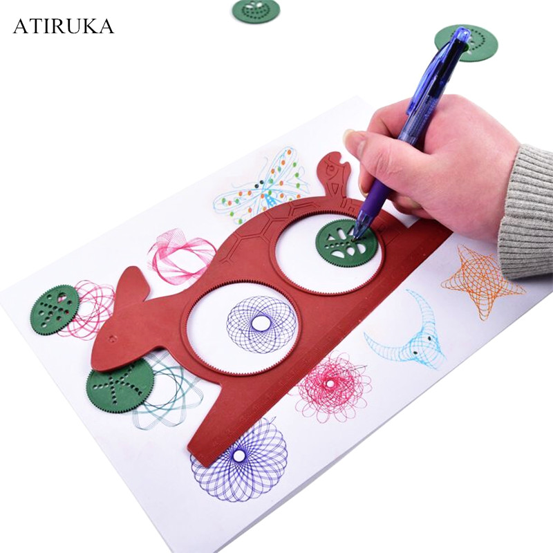 Волшебный Спирограф Черепаха Кролик доска для рисования многофункциональная линейка живопись игрушки для студентов головоломки образова...