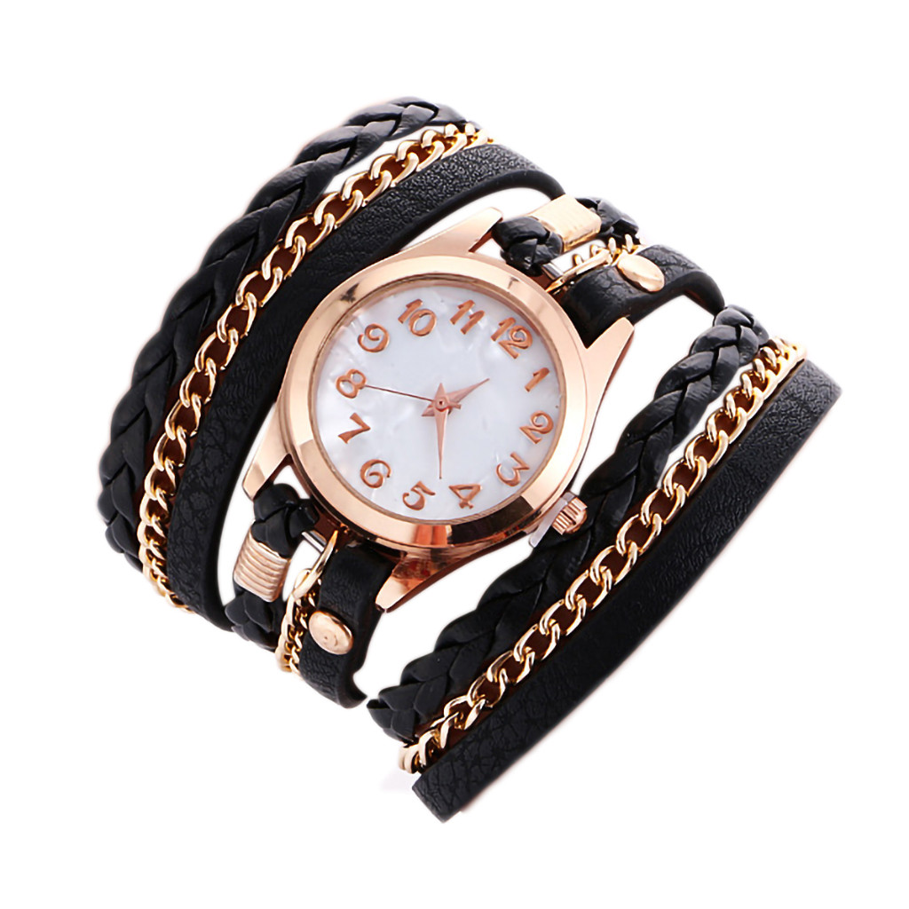 Leather Bracelet Watch Women Simple Fashion Hot Weave Leather Bracelet Lady Women Wrist Watch Relogio Feminino часы женские