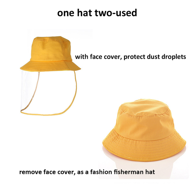 Protective Face Shield Cover Hat Anti Dust Cotton Fisherman Hat for Kids Reusable Anti Droplet Hat Mask Protective Cap 2