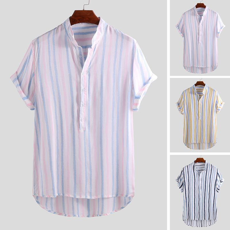 Summer 2019 <font><b>Men's</b></font> <font><b>Stripes</b></font> <font><b>Shirt</b></font> <font><b>Short</b></font> <font><b>Sleeve</b></font> Stand Collar Small Fresh Casual Street Wear Loose Breathable <font><b>Men's</b></font> Camisa Masculina image