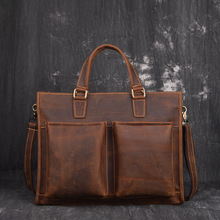 Vintage Men Genuine Leather Crazy Horse Shoulder Bag Waterproof Briefcase Bag Luxury Office Handbag Totes Business Bag