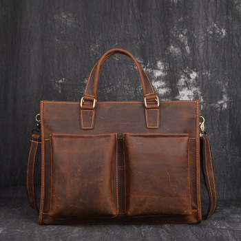 Vintage Men Genuine Leather Crazy Horse Shoulder Bag Waterproof Briefcase Bag Luxury Office Handbag Totes Business Bag цена 2017