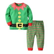 Children's Homewear Children's Christmas Pajamas Set Girls Printed Clown Striped Pants Two-piece Boy Pajamas