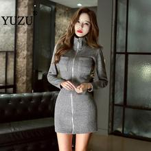 Sweater Dress Sexy Women Gray Bodycon Knit Mini Dress Zipper Long Sleeve Stand Collar Pocket Autumn Femme Sweater Dresses stylish plunging neck long sleeve gray knit women s bodycon dress