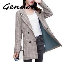 Genuo Plus Size 5XL Women Plaid Blazer Jacket Coat Double Breasted Long Blazers Foraml Suit Casual Office Lady Wokr Wear Outwear