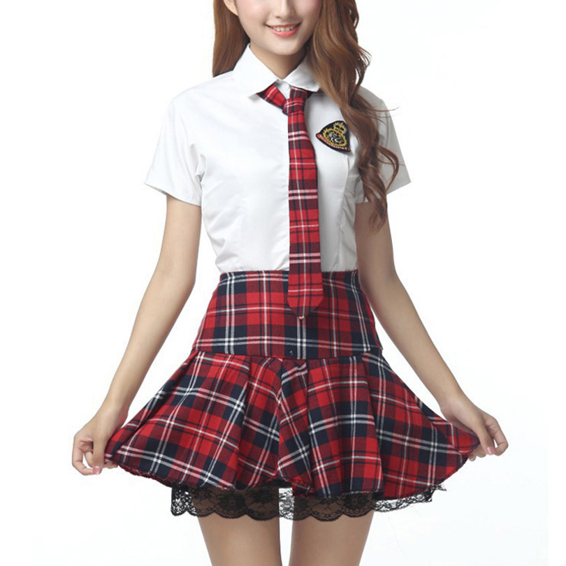 Short Sleeves School Uniform Girl Sailor Dress Red/Tibetan Blue Plaid Skirt Uniformes Japonais Korean Costumes For Girl(China)