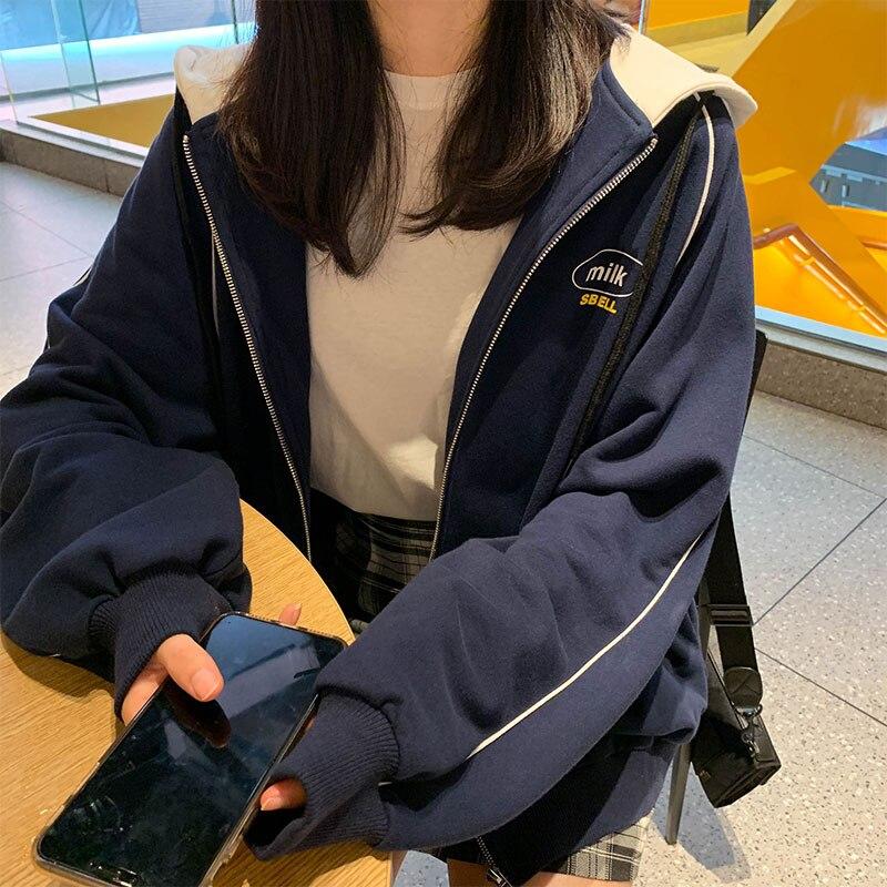 2 Colors 2019 Korean Ins Style Print Women Hooded Coats Warm Zipper Loose Jacket Tops Female Winter Coat Womens (X1079)