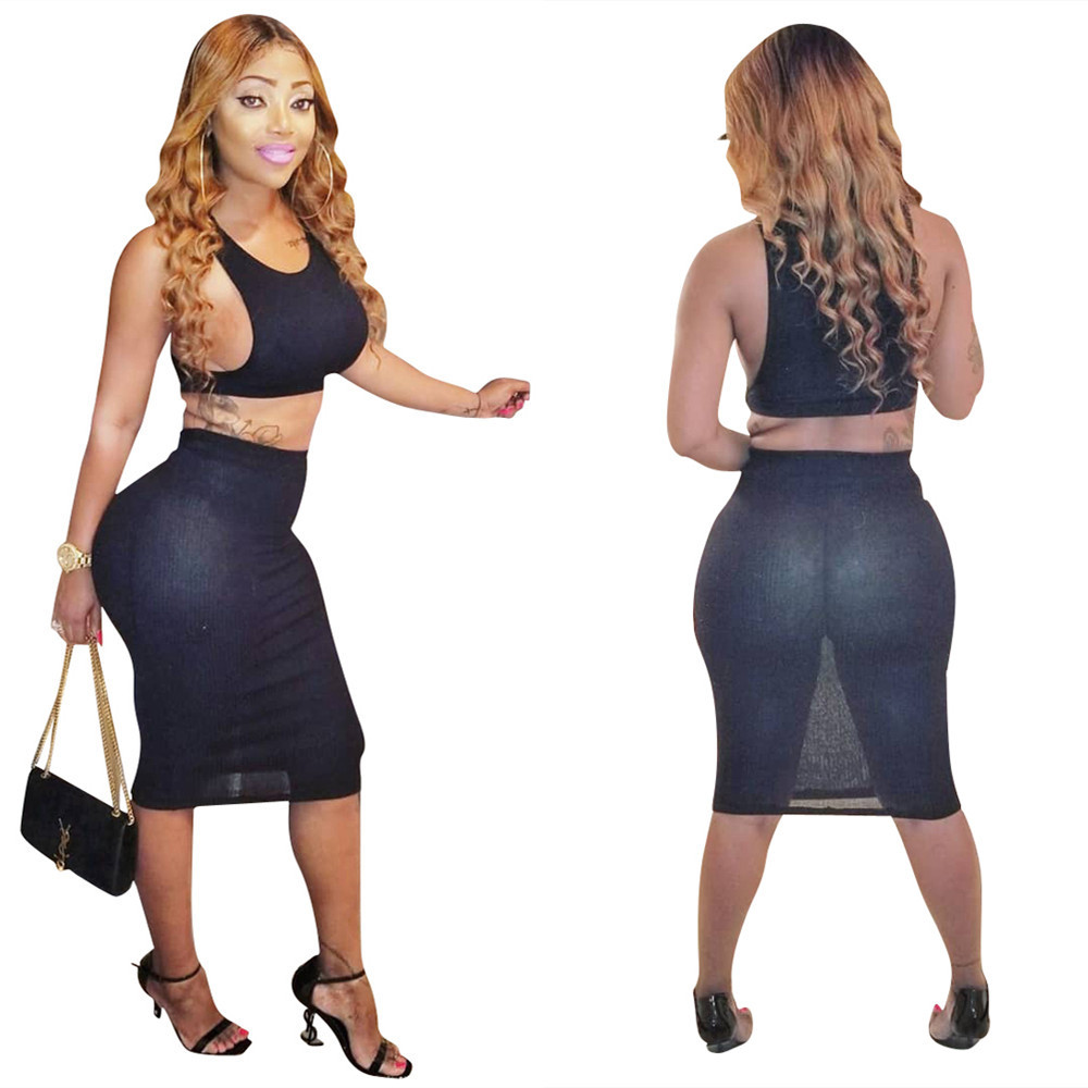 Ls6120 WOMEN'S Dress AliExpress Europe And America Hot Sales-Nightclub Uniforms Solid Color Gauze Two-Piece Set