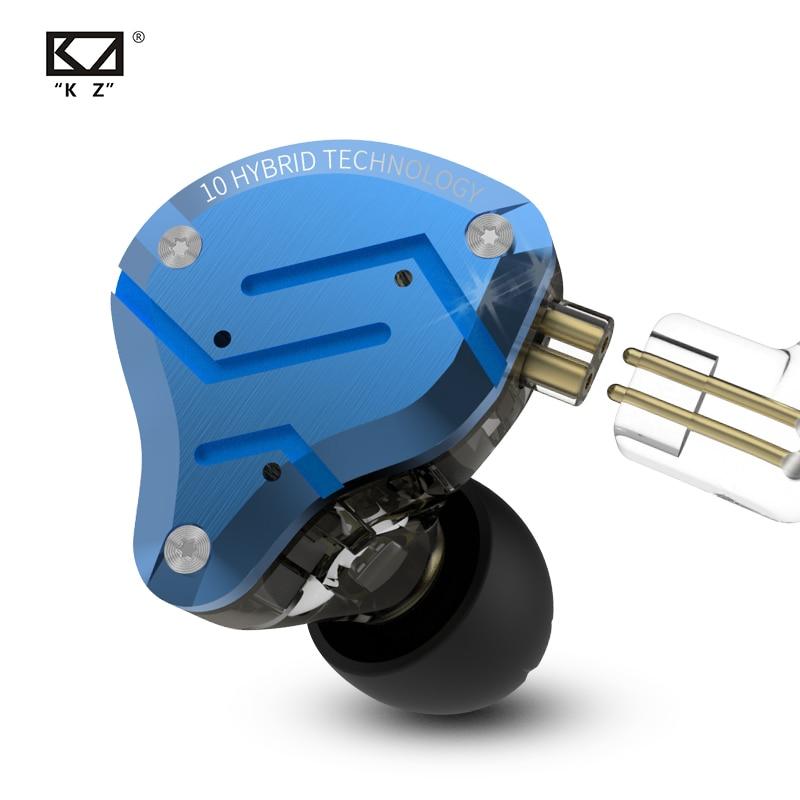 Kz zs10 pro metal em fones de ouvido 10 unidade motorista híbrido 4ba + 1dd alta fidelidade graves fones esporte com cancelamento ruído fone monitor