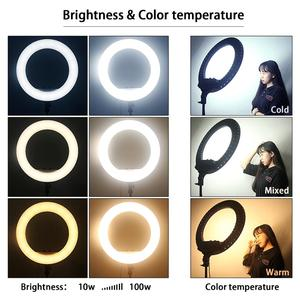 Image 4 - FOSOTO 18 Inch Led Ring Light 2700  6500K Photography Lighting Camera Phone RingLight Makeup Ring Lamp With Tripod And Remote