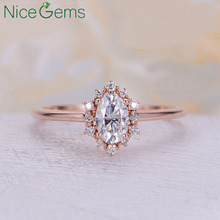 NiceGems 14K Rose Gold OVal Cut Moissanite 6x4mm Vintage engagement ring diamond ring halo wedding ring Anniversary promise ring