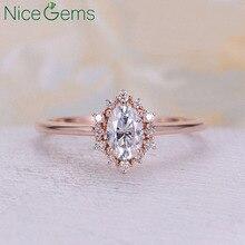 NiceGems 14K gül altın OVal kesim moissanit nişan yüzüğü 2 karat 7x9mm DF renk Moisanite halka çatal konik bandı kadınlar için