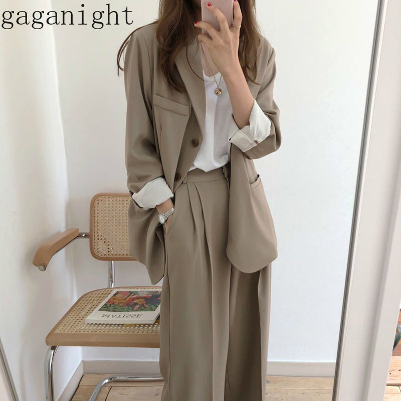 Gaganiaght Casual Fashion Women Solid Two Pieces Set Office Lady Suit BF Style Blazer High Waist Wide Leg Pants New 2 Pieces Set