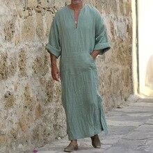 אסלאמי מסורתי Jubba Thobe גברים העבאיה פשתן מוסלמי גלימות דובאי ערבית קפטן בגדים Qamis Homme ערבי תורכי שמלת שמלת חיג אב