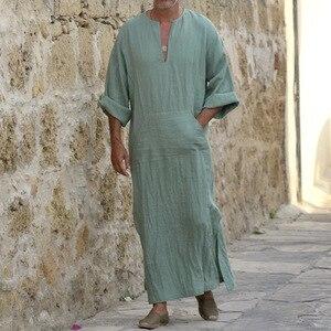 Image 1 - אסלאמי מסורתי Jubba Thobe גברים העבאיה פשתן מוסלמי גלימות דובאי ערבית קפטן בגדים Qamis Homme ערבי תורכי שמלת שמלת חיג אב