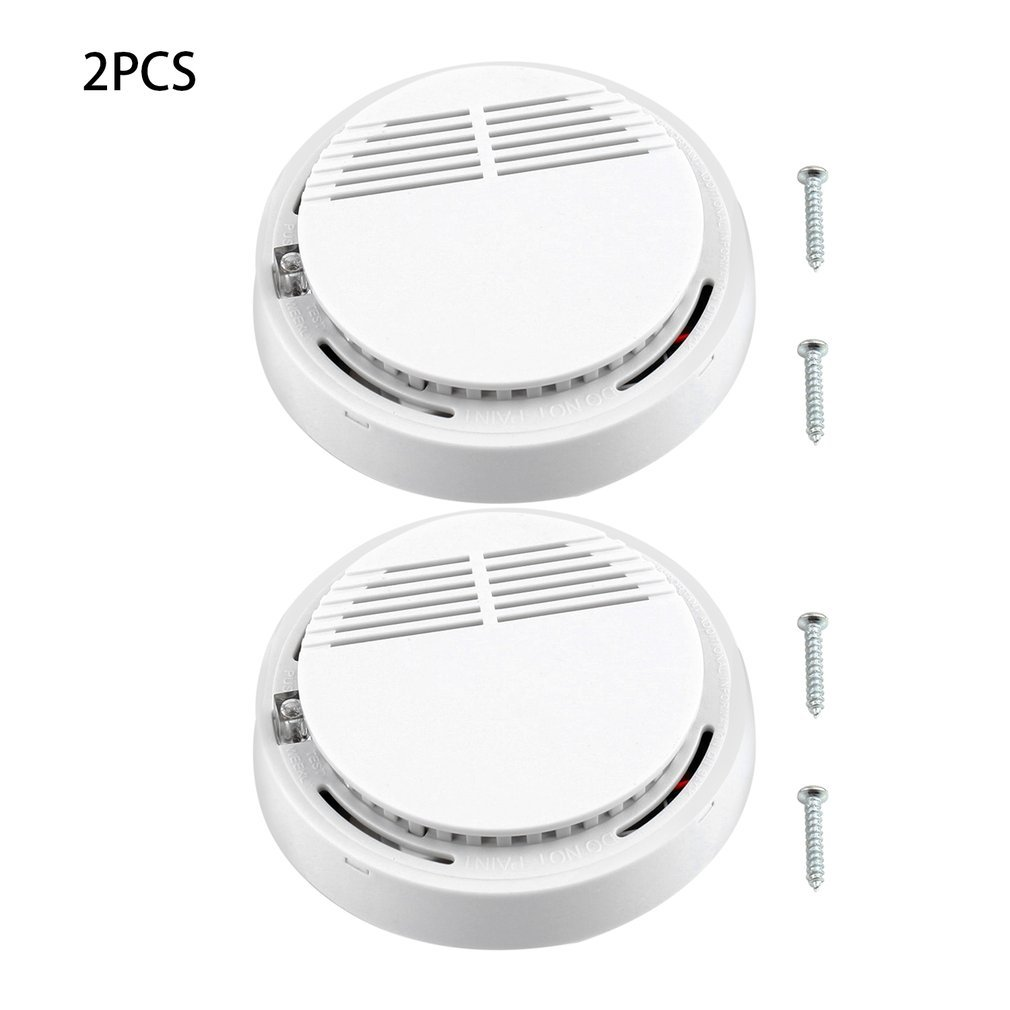 2Pcs Fire Smoke Detector Alarm Sensitive Tester Home Security System Cordless Wireless Family Guard Home Independent Alarm