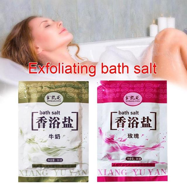 1 Bag Bath Sea Salts Exfoliator Rose Powder Shower Body Foot Massager Skin Care Spa Exfoliation Bath Salt 2