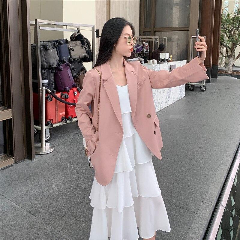Casual Korean Ladies Blazer Retro Loose Solid Pink Stylish Suit Jacket Long Sleeve Simple High Street Women's Clothing MM60NXZ