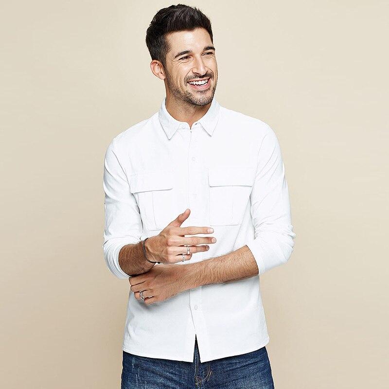 KUEGOU 2019 Autumn 100% Cotton White Pocket Shirt Men Dress Button Casual Slim Fit Long Sleeve Male Fashion Brand Blouse 7765