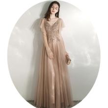 A-line sukienka na studniówkę es v-dekolt długa suknia balowa sukienka na studniówkę suknie wieczorowe szampan z krótkimi rękawami aplikacje koronkowe suknie wieczorowe tanie tanio LEADERBRIDALS V-neck NONE Długość podłogi Prom dresses REGULAR Tulle Frezowanie vintage Naturalne P25293 Poliester