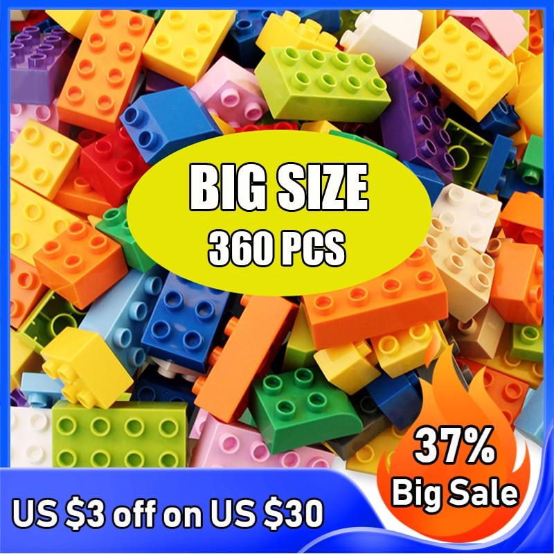 60-360 шт. большой Размеры DIY строительные блоки маленького размера идущие строительные блоки аксессуары Развивающие игрушки для детей