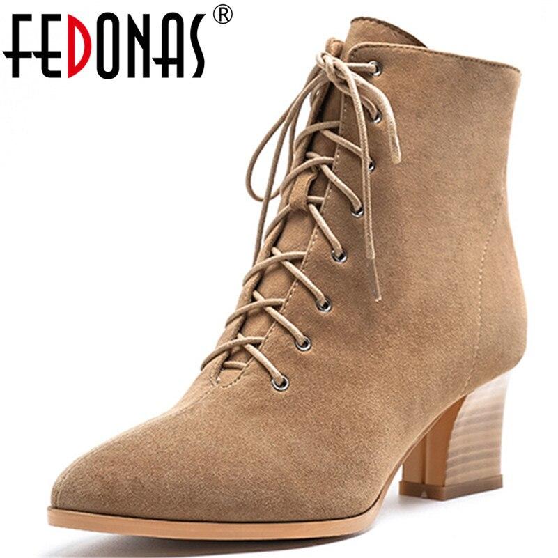 FEDONAS classique croix attaché enfant daim Chelsea bottes hiver chaud femmes bottines parti bureau chaussures femme élégant talons hauts