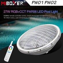 MiBoxer PW01 27W PW02 18W RGB CCT PAR56 LED Pool IP68 Waterproof Underwater Light Lamp 433MHz Gateway,8-Zone Remote