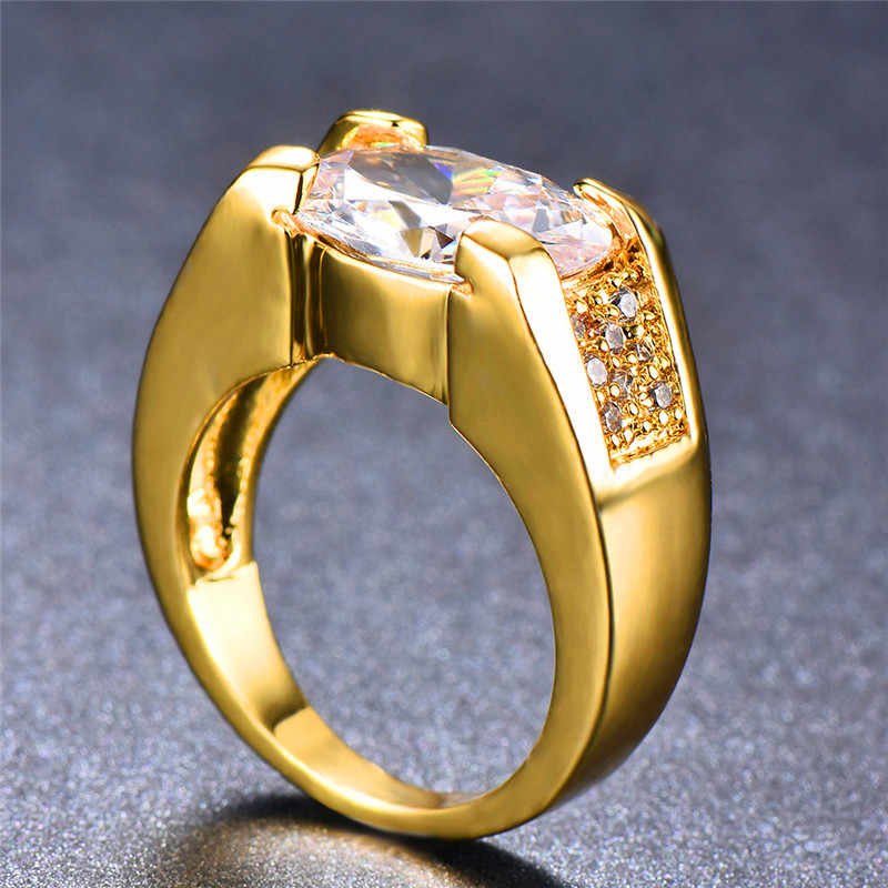 Luxury ชายหญิงขนาดใหญ่รูปไข่แหวน 18KT สีเหลืองทองแหวนน่ารักรักหมั้นแหวนสำหรับชายผู้หญิง