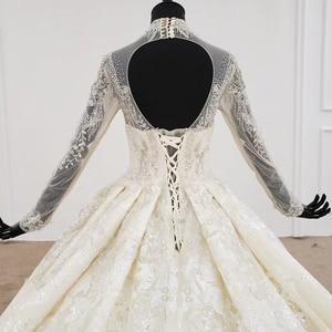 Image 4 - HTL1094 אלגנטי חתונת שמלות לבנון גבוהה צוואר מלא שרוול כדור שמלת אפליקציות תחרת הכלה שמלת שמלת ארוך רכבת gelinlikler
