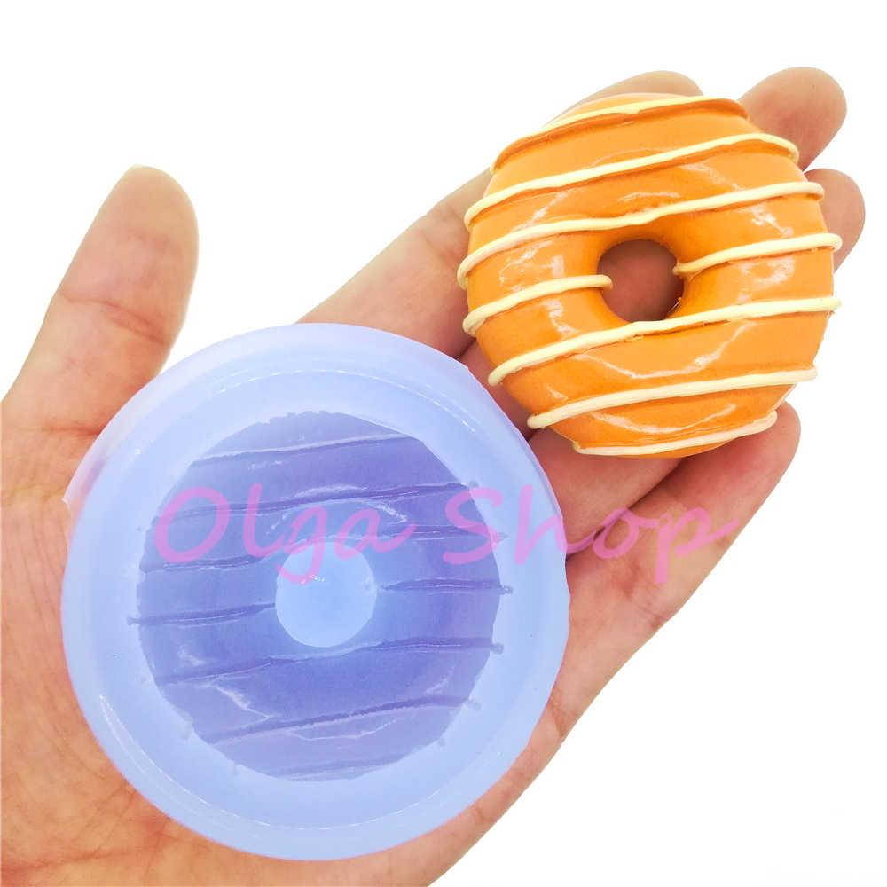 TYL115 49,6mm Große Donut Donut Silikon Form Kuchen Dekoration Fondant Candy Schokolade Handwerk Harz Seife Kerze Aromatherapie DIY