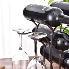 Iron Wire forest Leaf Wine Rack Stand Hanging Drinking Glasses Stemware Rack Shelf Wine Bottle & Glass Cup Holder Display