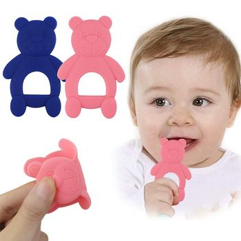 Zwierzę w kształcie Cute Bear gryzak gryzak dla niemowląt różowy niebieski silikon BPA Free Molar Stick Teeth Trainer Tooth Baby Bite gryzak 2020 tanie i dobre opinie insular Pojedyncze załadowany CN (pochodzenie) Nitrosamine darmo BPA za darmo 4-6 miesięcy Zwierząt Innych Silicone OPP bag