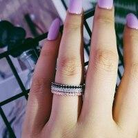 Anillo apilable de plata de ley 925 para mujer, banda negra y dorada, sortija eternity, boda, dedo de compromiso, cola rosa, joyería para uñas R1090x