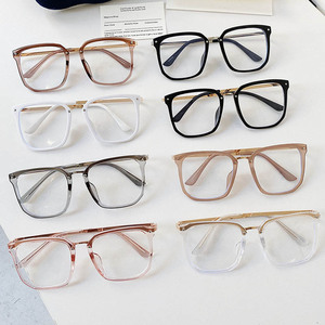 Image 4 - 새로운 대형 스퀘어 클리어 비 처방 렌즈 안경 대형 여성 남성 광학 안경 스펙타클 투명 합금