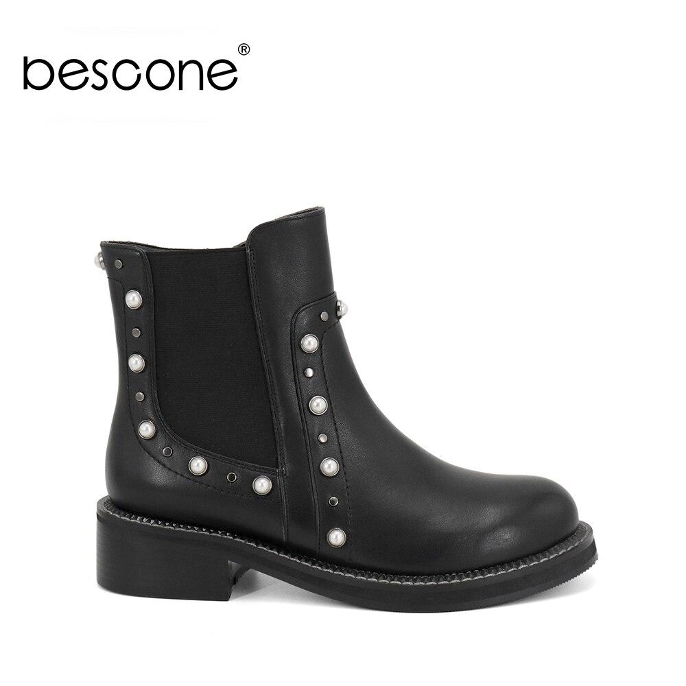 BESCONE nouveau cuir véritable femmes bottines bout rond chaîne perle chaussures décontractées automne hiver chaud court en peluche dames bottes M4
