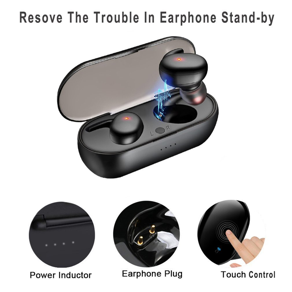 Touch Wireless Bluetooth 5.0 Earphone IPX5 Waterproof Sports Earbuds With Microphone For Xiaomi redmi note 7 Honor iPhone X 7 8 Bluetooth Earphones & Headphones     - title=