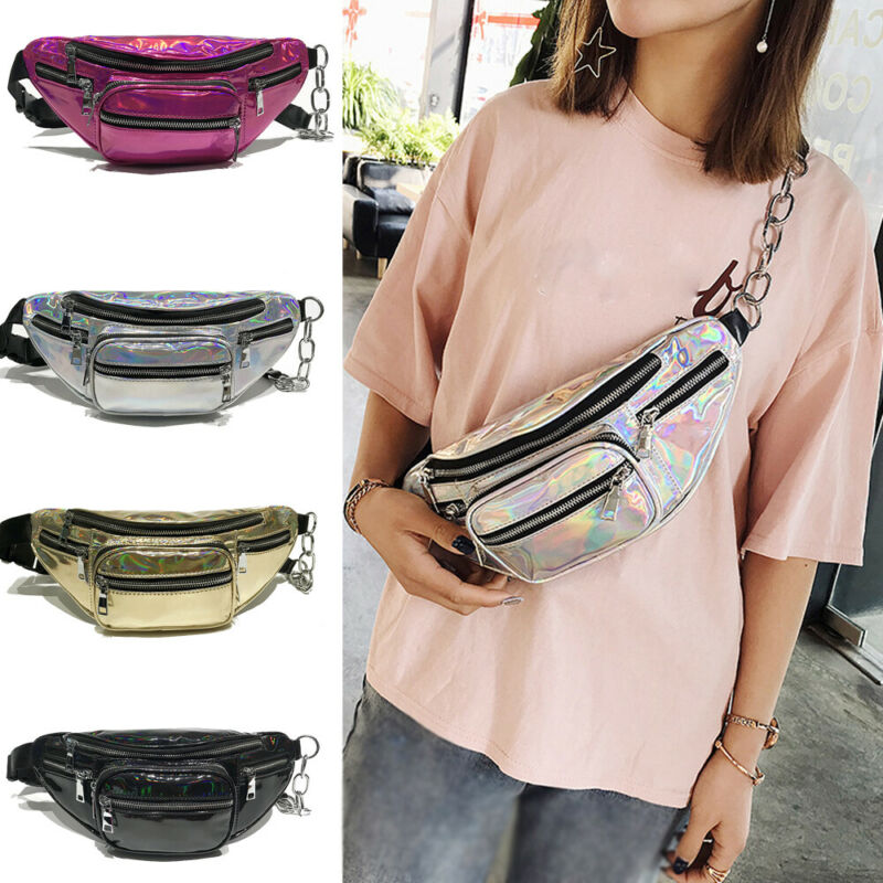 Women Girls Fanny Shiny Leather Pouch Belt Waist Shoulder Bags Pack Purse Wallet
